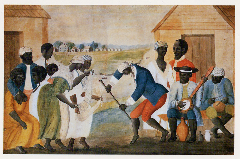 Arguably the best known visual depiction of African American life during the 18th century, this small (approx. 12 x 18) watercolor depicts what appear to be plantation slaves dancing and playing musical instruments.  The artist did not name the painting, but former owners gave it the arbitrary title The Old Plantation by which it is now commonly known. The painting is unsigned, undated and not given a provenience. Recent research by Susan Shames, the decorative arts librarian with CWF, has identified the artist as John Rose, a South Carolina plantation owner. The painting was probably made around 1785-1790, and may depict a scene somewhere on the Coosaw river, in the area of Beaufort.  The central male figure holds a long staff or walking cane. The two women in the center are dancing with what appear to be scarves or bandanas, but in fact may be African musical instruments -- gourd rattles enclosed in a net into which hard objects such as shells or bones have been woven. On the right a man plays a 4-stringed banjo; another uses sticks or bones to play a small drum, possibly an inverted earthen ware vessel or a gourd /calabash. Except for the head ties (head kerchiefs) and bare feet, the male and female clothing conforms to late 18th colonial working class styles, regardless of racial group. Some of the men wear earrings and several seem to be depicted with beards, both common among enslaved South Carolinians. Three containers in the lower right foreground include a brown jug, probable stoneware, and a glass (wine?) bottle; the third object could be an English white salt-glazed stoneware jug or an English creamware jug. Whether all of these items would have been found at an actual dance and placed in this manner is problematical. The background shows a river with two canoes (?), and a group of larger buildings, including the manor or mansion house, outbuildings, and a row of seven (presumed slave) cabins at a short distance from the former. The cabins appear to have 